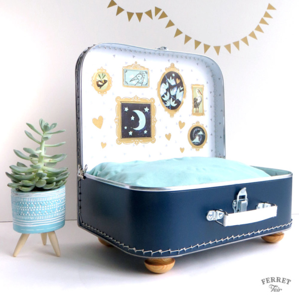 pet suitcase bed DIY ferret bed vintage suitcase