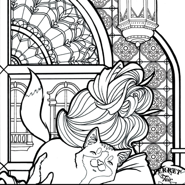 Coloring page for adults catlover animallover